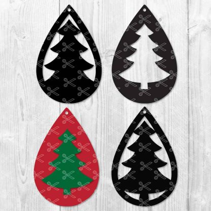 ChristmasTree TearDrop Earring SVG