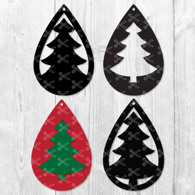 ChristmasTree TearDrop Earring SVG