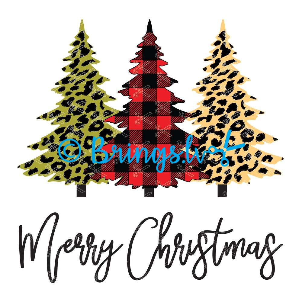 Merry Christmas Trees Plaid Leopard SVG - Merry Christmas Trees Plaid Leopard SVG DXF PNG Cut Files