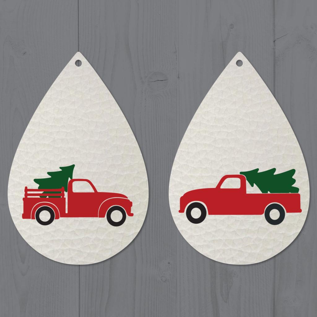 Red Christmas Tree Truck Leather Teardrop Earrings SVG