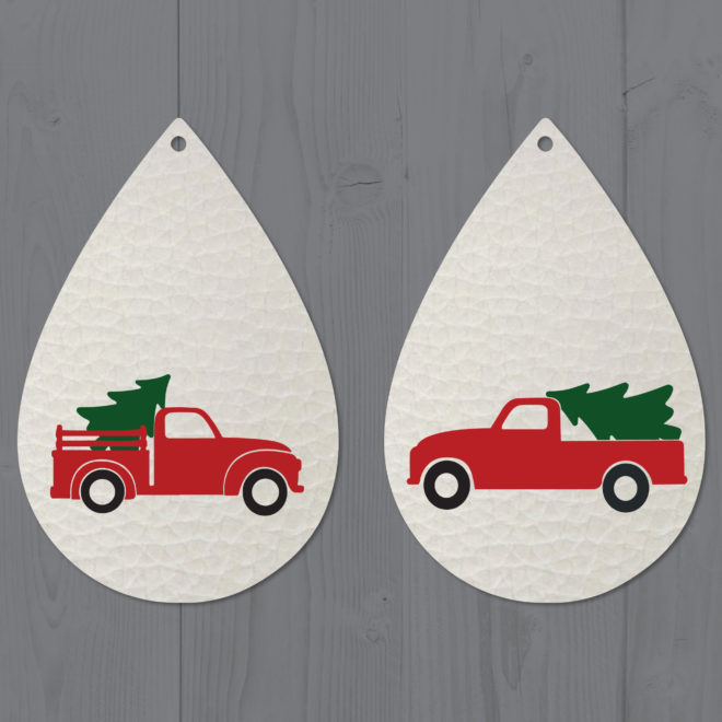 Red Christmas Tree Truck Leather Teardrop Earrings SVG