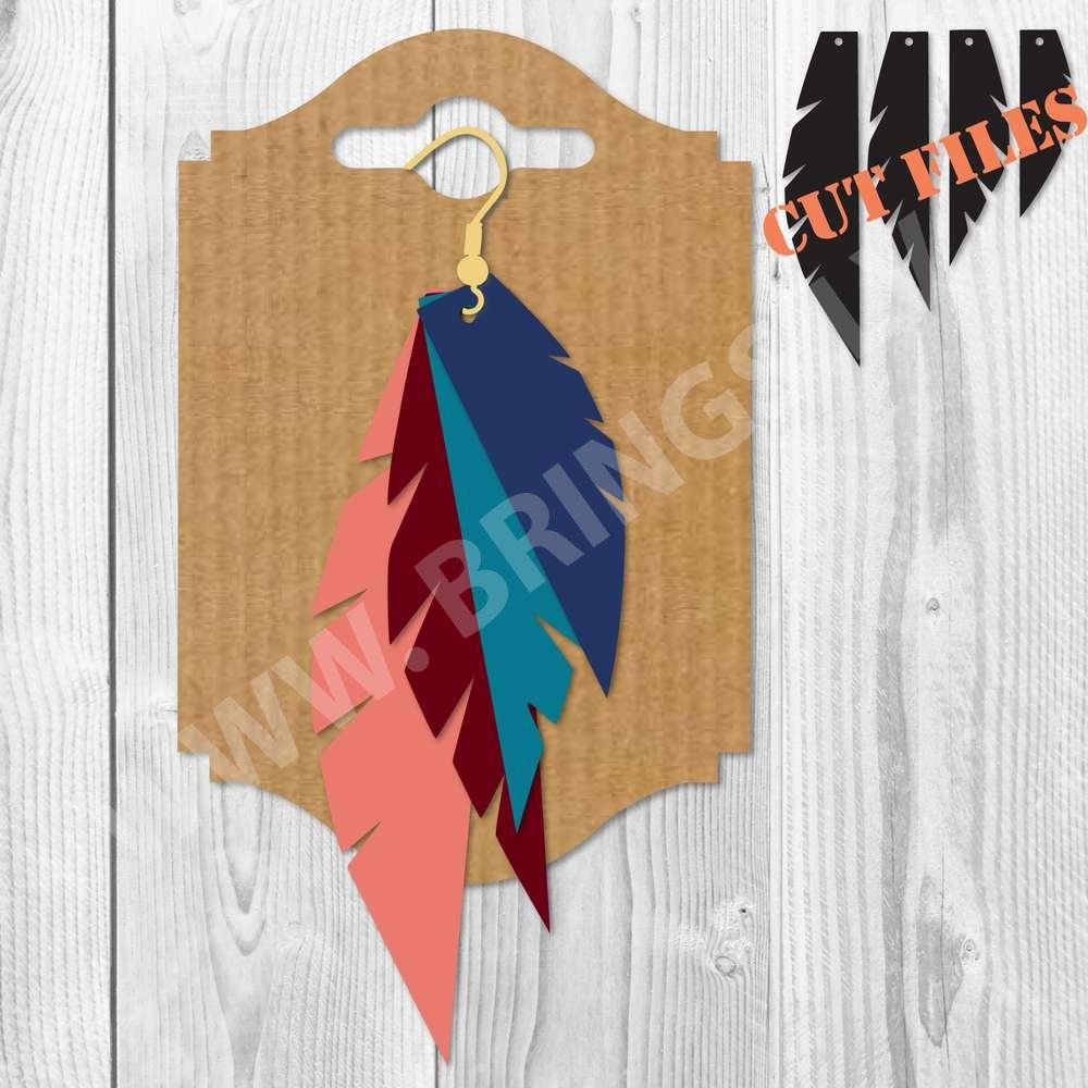 Feather Earrings SVG File - Feather Earrings SVG DXF PNG Cut Files