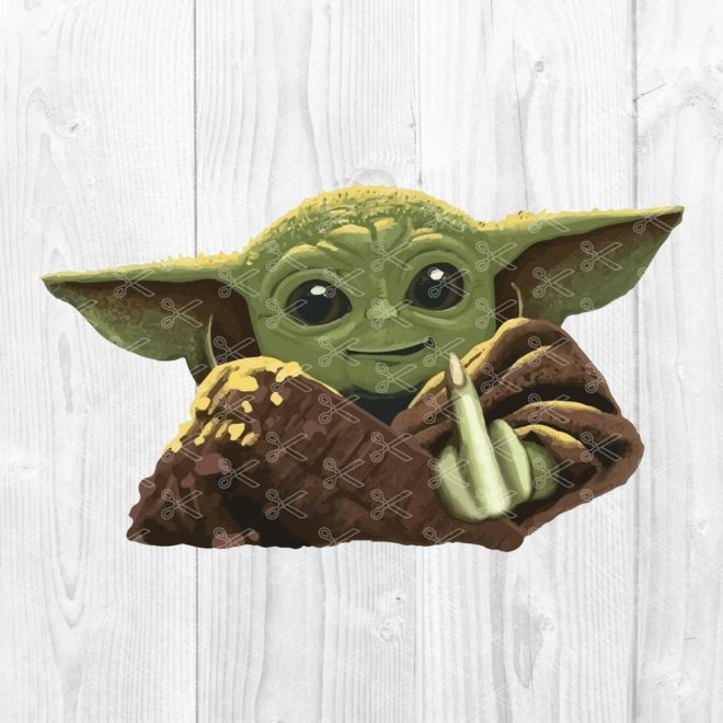 Baby Yoda In Middle Finger