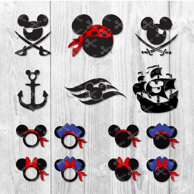 Mickey and Minnie Pirate SVG