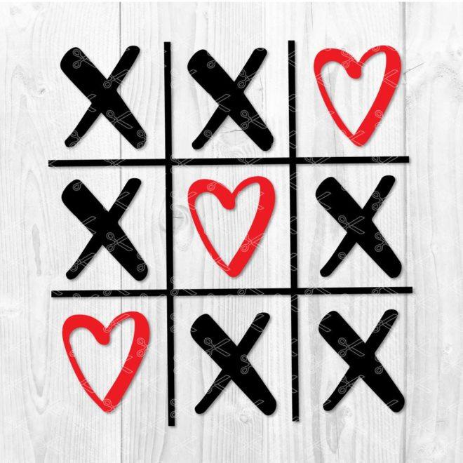 Valentines Tic Tac Toe SVG