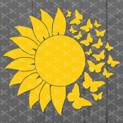 Sunflower and Butterfly SVG