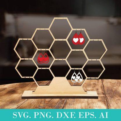 Honeycomb Jewelry Display Template SVG