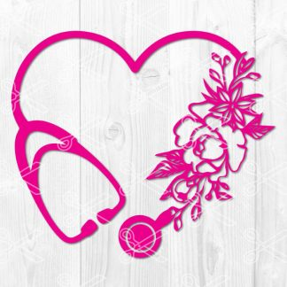 Nurse Heart Stethoscope SVG