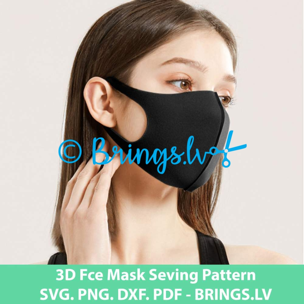3d Face Mask Sewing Pattern Pdf Svg Dxg Eps Cut Files