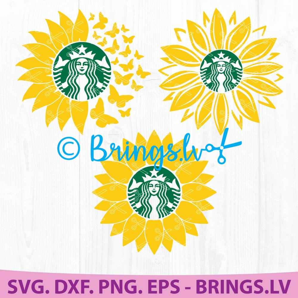 Sunflower Starbucks Coffee Svg Dxf Png Eps Cut Files Bundle