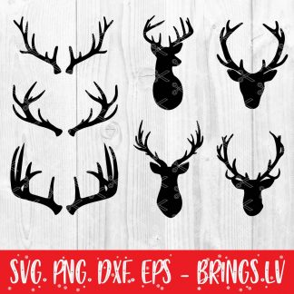 Deer Head and Antlers SVG Bundle