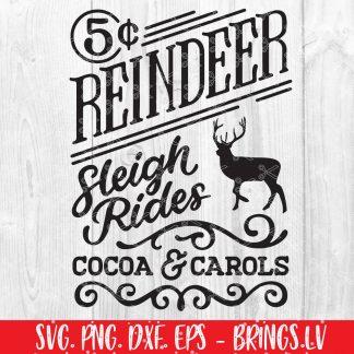 Reindeer Sleigh Rides SVG