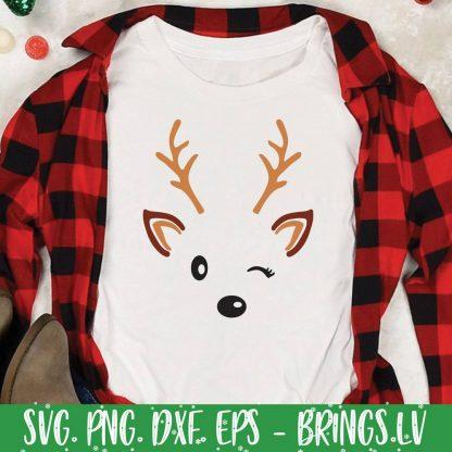 Cute Reindeer Face SVG
