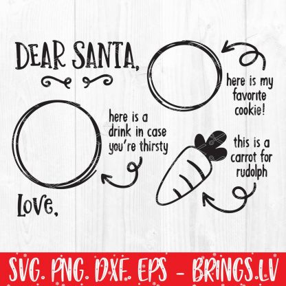 Dear Santa Cookies and Milk Doodle Tray Digital SVG