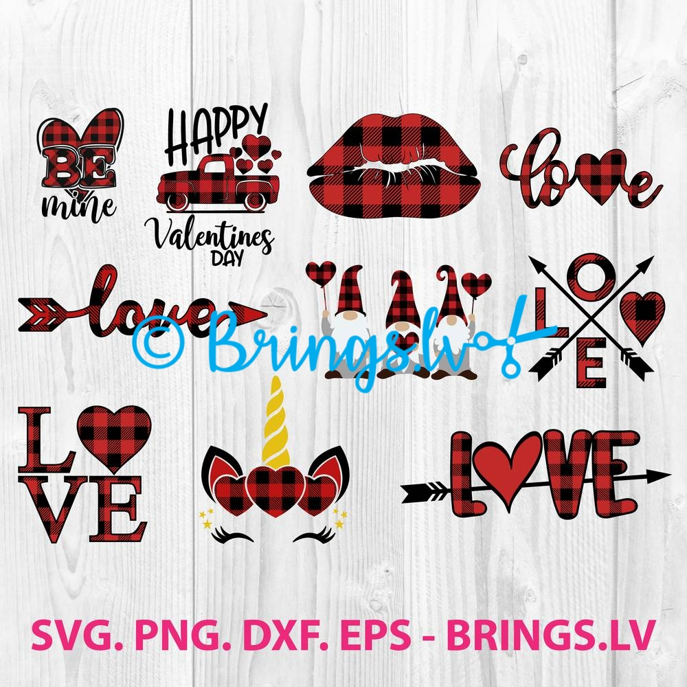 Buffalo Plaid Valentine Heart SVG