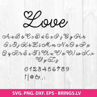 Hand Drawn Love Valentine Font SVG