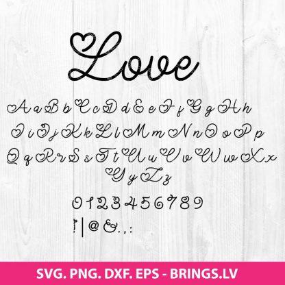 Hand Drawn Love Valentine Font SVG