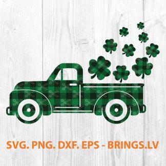 Saint Patrick's Day Buffalo Plaid Truck SVG