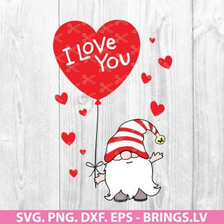 I Love You GNOME Valentine Svg Design