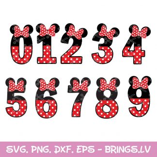 Numbers Minnie SVG
