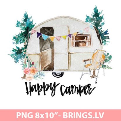 HAPPY CAMPER WITH FLOWERS CLIPART PNG