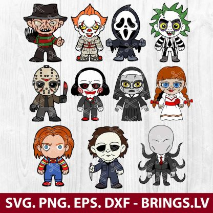 HORROR MOVIE CHARACTERS FUNNY HALLOWEEN SVG